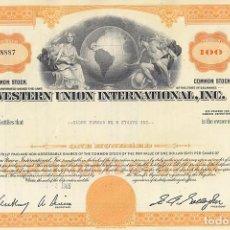 Colecionismo Ações Internacionais: WESTERN UNION INTERNATIONAL INC, 1965. Lote 116727495