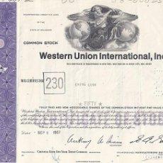 Colecionismo Ações Internacionais: WESTERN UNION INTERNATIONAL INC, 1967. Lote 116727515