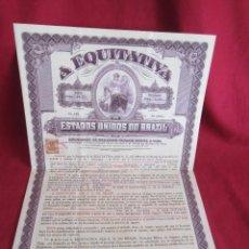 Coleccionismo Acciones Extranjeras: ANTIGUA ACCIÓN - A EQUITATIVA - ESTADOS UNIDOS D0 BRASIL - 1918. Lote 117016455