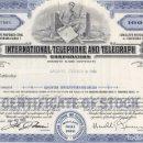 Coleccionismo Acciones Extranjeras: ITT, INTERNATIONAL TELEPHONE AND TELEGRAPH, 1965. Lote 119587463