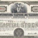 Coleccionismo Acciones Extranjeras: ITT, INTERNATIONAL TELEPHONE AND TELEGRAPH, 1942. Lote 119587631