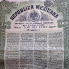 Coleccionismo Acciones Extranjeras: REPÚBLICA MEXICANA - BONO DE LA DEUDA EXTERIOR MEXICANA DEL 4% ORO DE 1910. Lote 121518839
