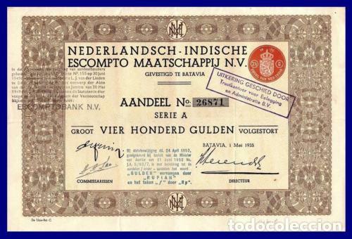 BONO ACCION DE GUERRA INDIAS HOLANDESAS SEGUNDA GUERRA MUNDIAL. (Coleccionismo - Acciones Extranjeras )