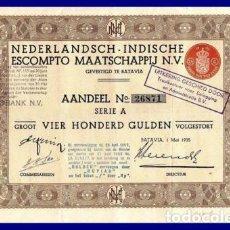 Coleccionismo Acciones Extranjeras: BONO ACCION DE GUERRA INDIAS HOLANDESAS SEGUNDA GUERRA MUNDIAL.. Lote 127174891