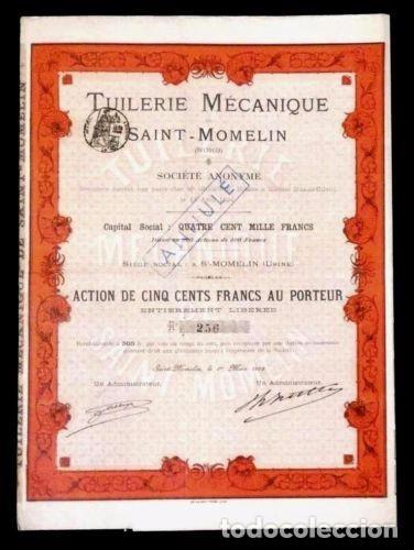 ACCION FRANCESA ANTIGUA CON CUPONES 1895 (Coleccionismo - Acciones Extranjeras )