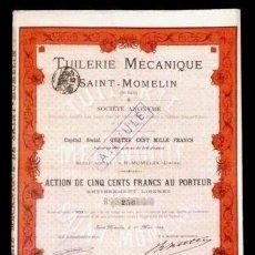 Coleccionismo Acciones Extranjeras: ACCION FRANCESA ANTIGUA CON CUPONES 1895. Lote 128074395