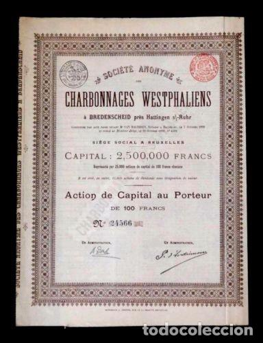 ACCION FRANCESA ANTIGUA CON CUPONES 1899 (Coleccionismo - Acciones Extranjeras )