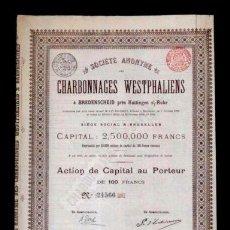 Coleccionismo Acciones Extranjeras: ACCION FRANCESA ANTIGUA CON CUPONES 1899. Lote 128075079