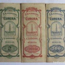 Coleccionismo Acciones Extranjeras: ACCIONES ORIGINALES S.A. PETROLERA EUREKA MEXICO AÑO 1918 CON CUPONES.. Lote 128494827