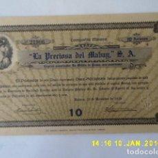 Coleccionismo Acciones Extranjeras: ACCION LA HABANA, CUBA, LA PRECIOSA DEL MABAY S.A. 1916. Lote 131480986