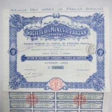Collezionismo Azioni Internazionali: SOCIÉTÉ DES MINES DE PARZAN. ESPAGNE. 250 FRANCS CHACUNE. SIÈGE SOCIAL A PARIS. 1912. Lote 133280782