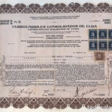 Coleccionismo Acciones Extranjeras: ACCIONES DE COMPAÑÍA DE FERROCARRILES DE CUBA DE 1940 (23 ACCIONES). Lote 133853146