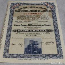 Coleccionismo Acciones Extranjeras: ACCIÓN DE LA SOCIÉTÉ INTERNATIONALE FORESTIÉRE&MINIÉRE DU CONGO,BRUSELAS,1944.. Lote 136395402