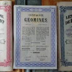Collectionnisme Actions Internationales: LOTE DE 3 DOCUMENTOS ACCIONES MINAS DE ORO, BÉLGICA AÑOS 40, VER FOTOS. Lote 140011634