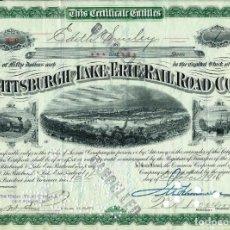Coleccionismo Acciones Extranjeras: THE PITTSBURGH AND LAKE ERIE RAIL ROAD CO. 1916. Lote 140174866
