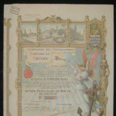Coleccionismo Acciones Extranjeras: NAVEGACIÓN: COMPAGNIE DES INSTALLATIONS MARITIMES DE BRUGES, BÉLGICA (1904). Lote 142309838