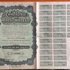 Coleccionismo Acciones Extranjeras: ACCION- COMPAGNIE DE MINES Y MINERALES- BRUXELLES-BELGICA 1.930. Lote 146112762