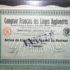 Coleccionismo Acciones Extranjeras: ACCIÓN FRANCIA. COMPTOIR FRANÇAIS DES LIEGES AGGLOMERES. 1936. Lote 146733876