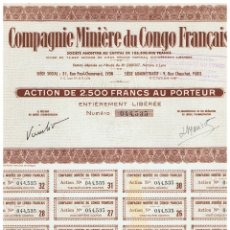 Coleccionismo Acciones Extranjeras: COMPAGNIE MINIERE DU CONGO FRANÇAISE. Lote 148056222