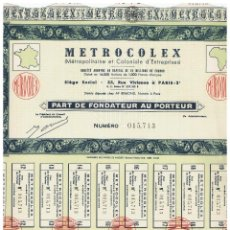 Coleccionismo Acciones Extranjeras: METROCOLEX. Lote 148056698