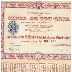 Coleccionismo Acciones Extranjeras: MINES DE BOU ARFA. Lote 148056822
