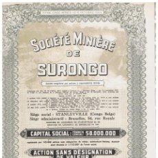 Coleccionismo Acciones Extranjeras: SOCIETE MINIERE DE SURONGO. Lote 148057046