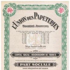 Coleccionismo Acciones Extranjeras: L'UNION DES PAPETIERS. Lote 148057282