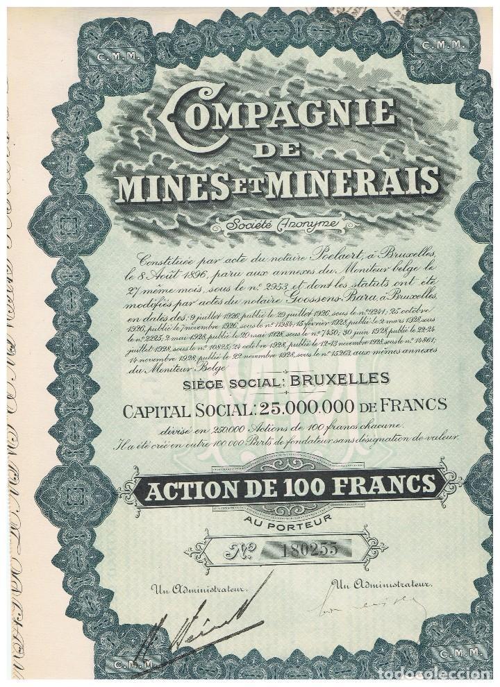 COMPAGNIE DE MINES ET MINERAIS (Coleccionismo - Acciones Extranjeras )