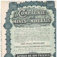 Coleccionismo Acciones Extranjeras: COMPAGNIE DE MINES ET MINERAIS. Lote 148058462