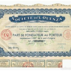 Coleccionismo Acciones Extranjeras: SOCIETE DE L'OUENZA 1948. Lote 148059358