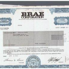 Coleccionismo Acciones Extranjeras: BRAE CORPORATION. Lote 148059482