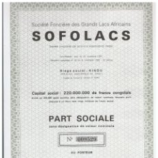 Coleccionismo Acciones Extranjeras: SOFOLACS. Lote 148059774