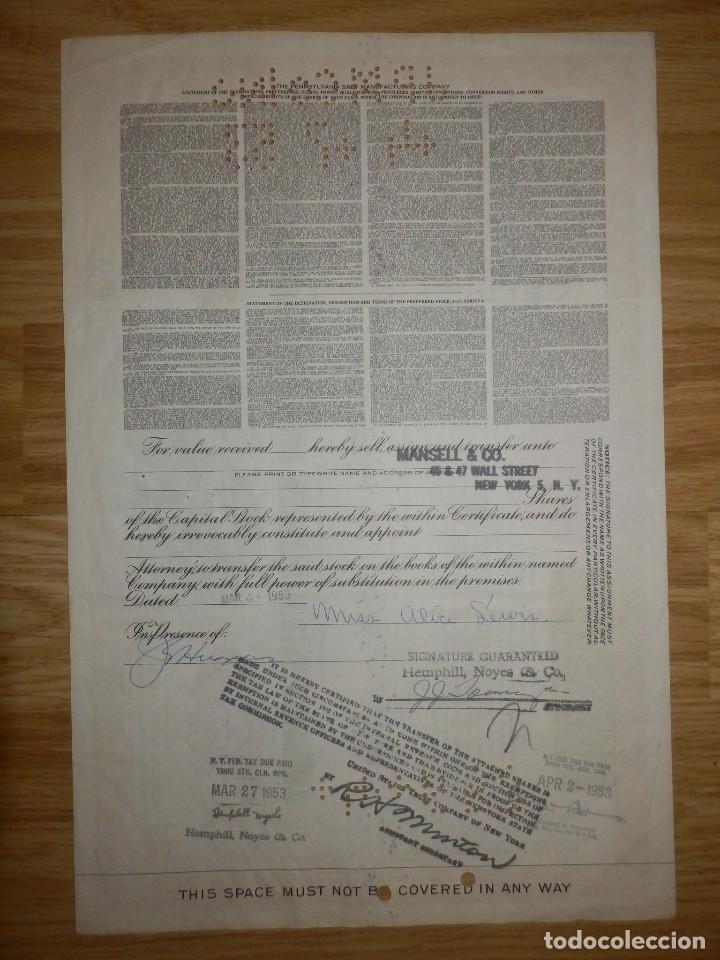 Coleccionismo Acciones Extranjeras: Acción - The Pennsylvania Salt Manufacturing Company - 1950 - Cinco participaciones - - Foto 2 - 148112238
