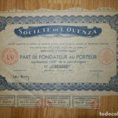 Coleccionismo Acciones Extranjeras: ACCIÓN - SOCIETE DE L´OUENZA - 1 DE OCTUBRE DE 1948. Lote 148113142