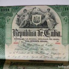 Coleccionismo Acciones Extranjeras: BONO DE DEUDA DE LA REPUBLICA DE CUBA AÑO 1905. Lote 148139522