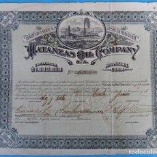 Coleccionismo Acciones Extranjeras: ACCION MATANZAS OIL COMPANY , CUBA , PETROLEO , 1917 , ORIGINAL , J. Lote 149357438