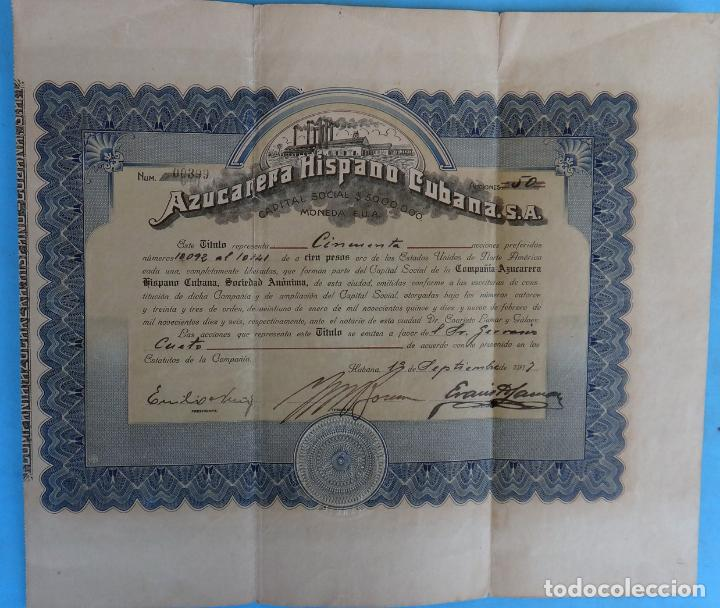 ACCION AZUCARERA HISPANO CUBANA , CUBA , 1917 , ORIGINAL , J (Coleccionismo - Acciones Extranjeras )