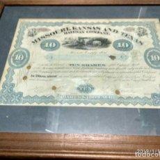 Coleccionismo Acciones Extranjeras: ANTIGUO CERTIFICADO DE ACCIONES DE COMPAÑIA DE FERROCARRILES DE MISSOURI, KANSAS Y TEXAS, 1880. Lote 150850562