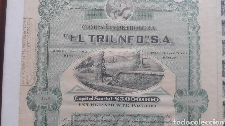 ACCIONES COMPAÑIA PETROLERA, EL TRIUNFO (Coleccionismo - Acciones Internacionales)