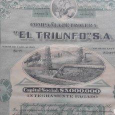 Coleccionismo Acciones Extranjeras: ACCIONES COMPAÑIA PETROLERA, EL TRIUNFO. Lote 161532589