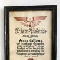 Coleccionismo Acciones Extranjeras: CERTIFICADO DE HONOR POR 25 AÑOS EN LAS REICHSBAHN TERCER III REICH, HITLER, NAZI. Lote 163414434