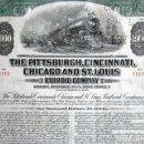 Coleccionismo Acciones Extranjeras: BONO 1000 DÓLARES. THE PITTSBURGH, CINCINNATI, CHICAGO AND ST. LOUIS. RAILROAD COMPANY. AÑO 1975. . Lote 165238258