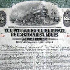 Coleccionismo Acciones Extranjeras: BONO 1.000 DÓLARES. THE PITTSBURGH, CINCINNATI, CHICAGO AND ST. LOUIS. RAILROAD COMPANY. AÑO 1975.. Lote 165238258