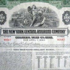Coleccionismo Acciones Extranjeras: BONO 1.000 DÓLARES. THE NEW YORK CENTRAL RAILROAD COMPANY. AÑO 1956. ESTADOS UNIDOS. CON CUPONES.. Lote 165238706