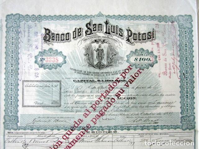 ACCIÓN BANCO DE SAN LUIS POTOSÍ. MÉXICO, AÑO 1897. CON CUPONES. MUY RARA. (Coleccionismo - Acciones Extranjeras )