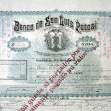 Coleccionismo Acciones Extranjeras: ACCIÓN BANCO DE SAN LUIS POTOSÍ. MÉXICO, AÑO 1897. CON CUPONES. MUY RARA.. Lote 166170290