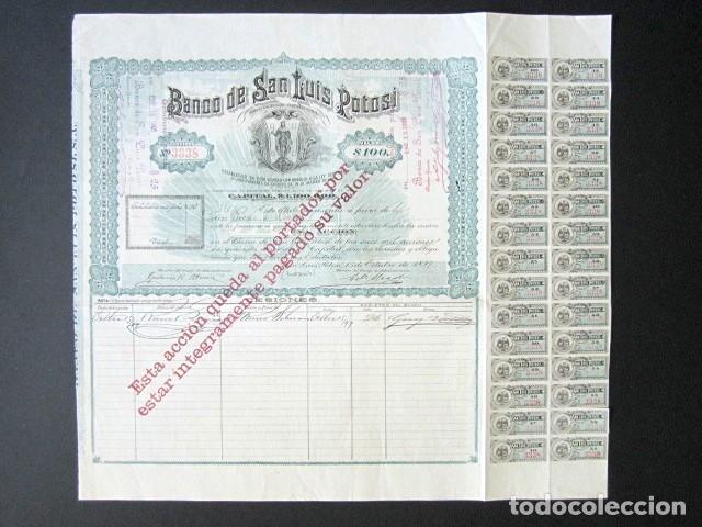 Coleccionismo Acciones Extranjeras: ACCIÓN BANCO DE SAN LUIS POTOSÍ. MÉXICO, AÑO 1897. CON CUPONES. MUY RARA. - Foto 2 - 166170290