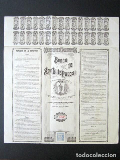 Coleccionismo Acciones Extranjeras: ACCIÓN BANCO DE SAN LUIS POTOSÍ. MÉXICO, AÑO 1897. CON CUPONES. MUY RARA. - Foto 6 - 166170290