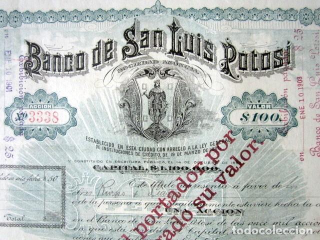 Coleccionismo Acciones Extranjeras: ACCIÓN BANCO DE SAN LUIS POTOSÍ. MÉXICO, AÑO 1897. CON CUPONES. MUY RARA. - Foto 7 - 166170290