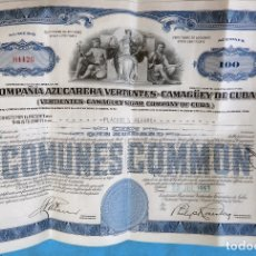 Coleccionismo Acciones Extranjeras: ACCION COMPAÑIA AZUCARERA VERTIENTES CAMAGUEY , 100 ACCIONES , CUBA , 1953 , ORIGINAL , AC. Lote 169336396